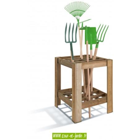 Range outils Pratik en bois traité. Râtelier outils de jardin