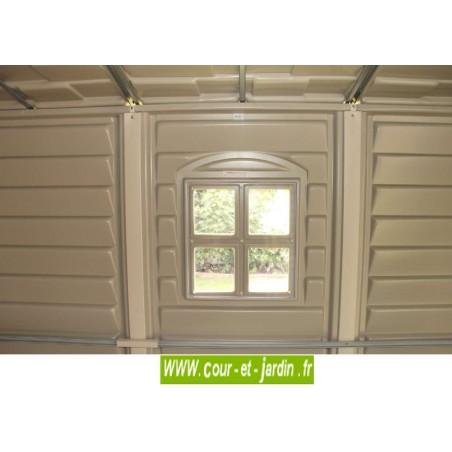 Abri de jardin PVC 4x6 WoodStyle Premium panneau fenêtre