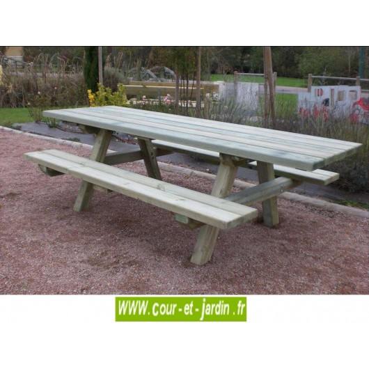 Table pique nique PMR,  pour handicapés - Table pique- nique bois