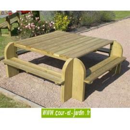 Table pique-nique bois avec bancs intégrés Élite . Cette table avec banc est en bois traité classe 4.