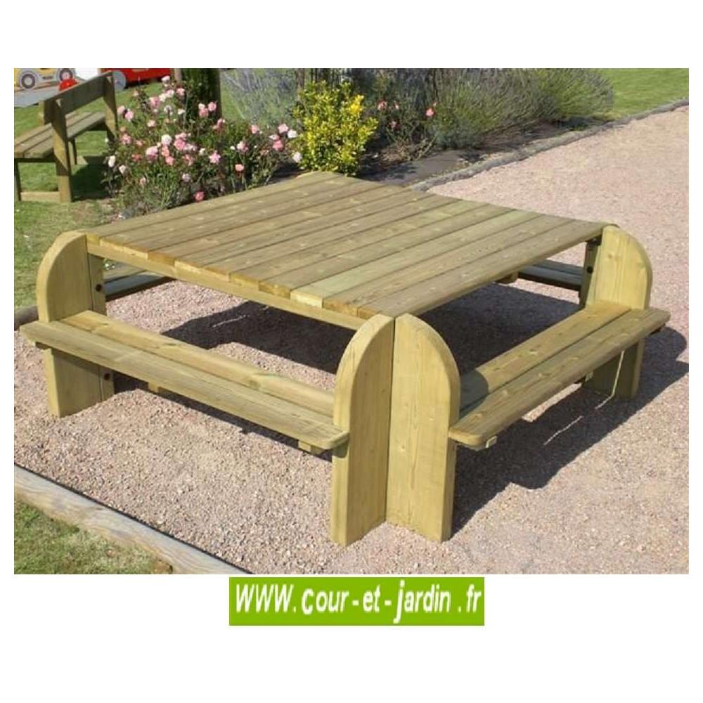 Table picnic, bois, table pique-nique, avec banc, bancs, de jardin,