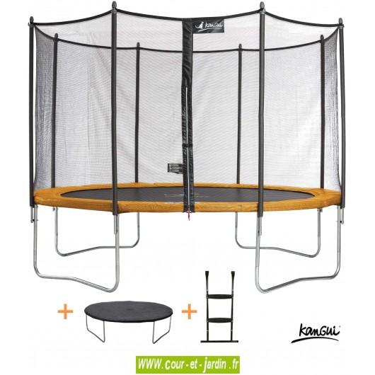 Ce Trampoline FUNNI POP 430 ou trampoline de jardin est vendu avec son échelle et une couverture de protection