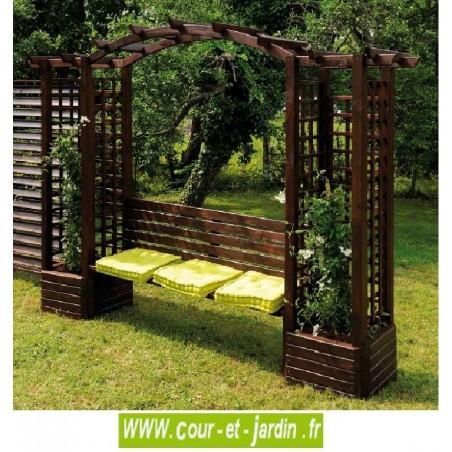 pergola avec banc de jardin en bois avec treillis 2 bacs fleurs. Black Bedroom Furniture Sets. Home Design Ideas