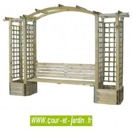 Pergola de jardin FLORENCE en bois avec banc et bacs à fleurs