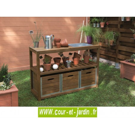 Table de pr paration choko tiroirs et bac en zinc for Bac en zinc jardin